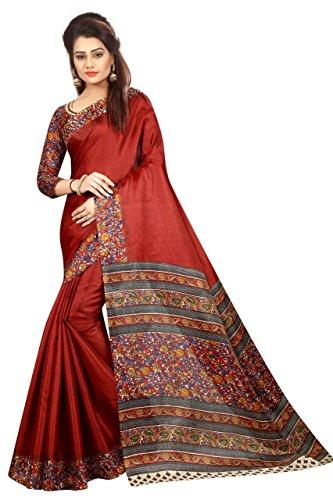 FabDiamond Women's Khadi Silk Saree With Blouse Piece(Kalamkari_Multi_Color Pure Cotton Free_Size Saree)...