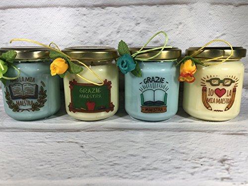 Grazie Maestra 4 vasetti con candele di cera di soia e oli essenziali - Regalo per la Maestra Fine anno scolastico Ritorno a scuo