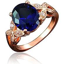 bloomcharm mi Jurado de 18 K chapado en oro rosa Zirconia cúbico boda y anillo