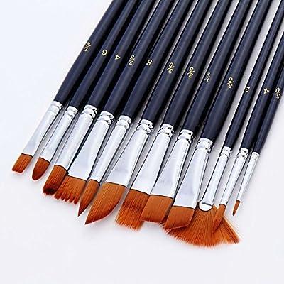 12 Stück Künstlerpinsel Schrägpinsel Acrylpinsel Set Pinselset für Acrylfarben und Aquarellfarben, Dunkelblau + Tray Mischpalette