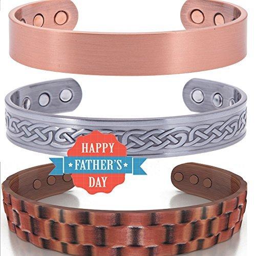 Prime Day Deal 3Pack para hombre pulseras de cobre–terapia magnética pulsera valor...