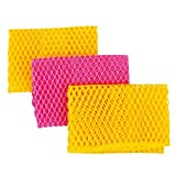 Top Clean Innovative Dish Washing Net Cloths, 11 By 11 Inches, 3Pcs Yellow/Pink/Yellow Or Pink/Yellow/Pink