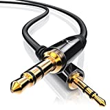 CSL - 1,5m Klinkenkabel 2,5mm zu 3,5mm | Audio Adapterkabel | High Quality Audio 2,5mm Klinken-Stecker zu 3,5mm Klinken-Stecker | geeignet für Handy, Smartphone, iPhone, iPad, iPod, Tablet, MP3-Player, CD-Player usw. | passgenau | Voll-Metallstecker | vergoldete Kontakte | schwarz