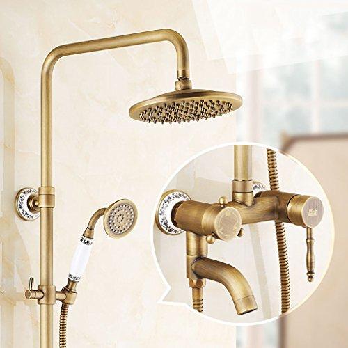 Ensemble de douche LJ rétro style européen Tous les robinets à chaud et à froid au cuivre La douche de salle de bains peut être tournée peut monter et descendre