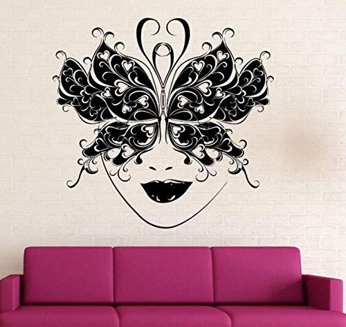 Zykang 3D Wandaufkleber Maskerade Ball Mask Wandtattoo Schmetterling Maske Dekor Kunst Wandbild Party Dekoration Tapete Kunst 57X56 Cm