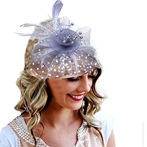 Hochzeitskopfschmuck der Braut Federschmuck Braut Haar Mesh Hut Tops Jockey Club Haarschmuck Haarspangen (Color : Gray, Size : Free Size) (Königliche Halloween-kostüm Eleganz)