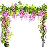 Vidillo Kunstblumen Blauregen 3 Stück 200cm Künstlicher Glyzinien Wistarie Hängend Seidenblüten Dekoration für Hochzeiten Hause Garten Party Partei-Dekor und Besondere Ereignisse (Rosarot)
