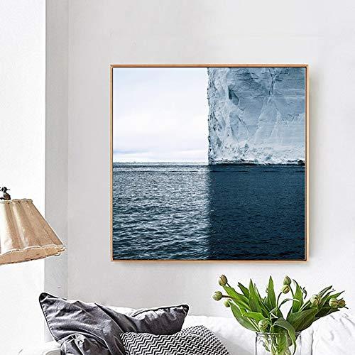 YCOLLC Sin Marco Iceberg Poster Pintura De La Lona Escandinava Nordic Art Print Seascape Imagen De Pared para La Sala De Estar Moderna Decoración para El Hogar