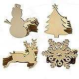 40 x Weihnachtsanhänger Tannenschmuck Baumschmuck Geschenkanhänger mit Schnur Holz Scheiben Weihnachtsdeko Bemalen