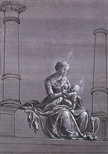 Das Museum Outlet-Jungfrau und Kind zwischen Spalten, Chiaroscuro drawing. c.1520, gespannte Leinwand Galerie verpackt. 50,8x 71,1cm - Aufhänger Kinder Kunstwerk
