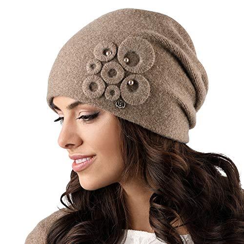 Kamea Nicea Dame Mütze Kopfbedeckung Wintermütze, Hellbraun,Uni -