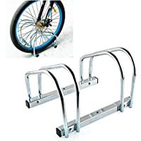 FEMOR Râtelier familial Rangement de 2 Vélo Montage au Sol/Mur Garage Abri de Vélos Stand Rack de Verrouillage Sécurisé