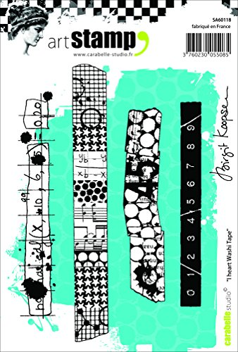 Carabelle Studio A6 Cling Stempel - I Heart Washi Tape by Birgit Koopsen, Rubber, White transparent, 10 x 14 x 0.5 cm -