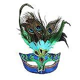 Wuudi Künstliche Pfauenfedern Maske Kunststoff Party Maske für Bälle