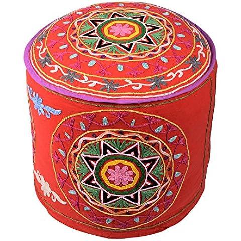 Tradizionale rotonda Red Boho Décor Pouffe cotone floreale ottomano copertura decorativa ricamato Ottomana Pouf da (Sedia Da Giardino Ottomano)