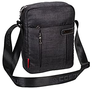 COSMUS Water Resistance Polyester Travel Sling Bag with Multiple Pockets and Padded Section for Tablet (Dark Grey)