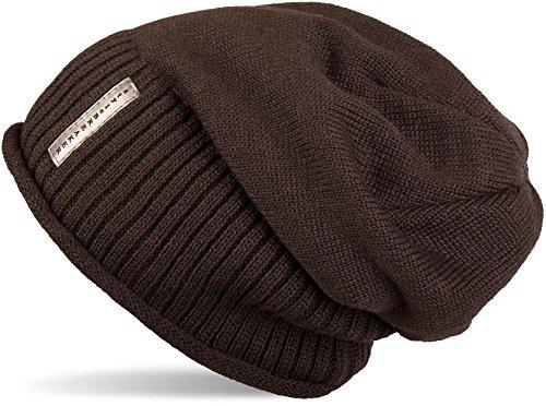 styleBREAKER warme Feinstrick Beanie Mütze mit sehr weichem Fleece Innenfutter, Unisex 04024065, Farbe:Dunkelbraun (Jersey Braune Gefütterte)