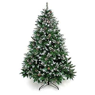 Yorbay – Árbol de Navidad Artificial Natural de Blanco Nevado, 120cm 390 Puntas Incluye Las Piñas y Soporte Metal, para Decoración Navideña Reutilizable