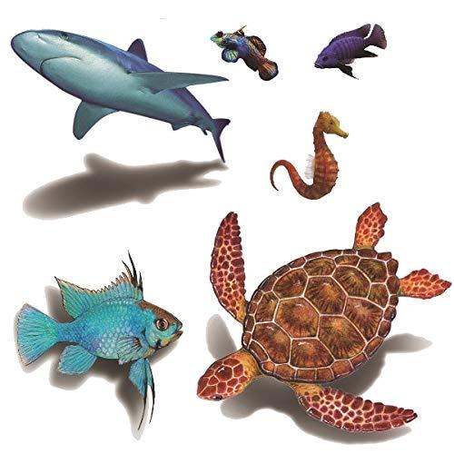 5 pz impermeabile tatoo autoadesivo del tatuaggio 3d tartaruga squalo ippocampo pesce pagliaccio tatto flash tatuaggi tatoo per bambini bambino 5