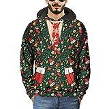 Soupliebe Herren 3D Printed Weihnachten Pullover Langarm Kapuzenpulli Tops Bluse