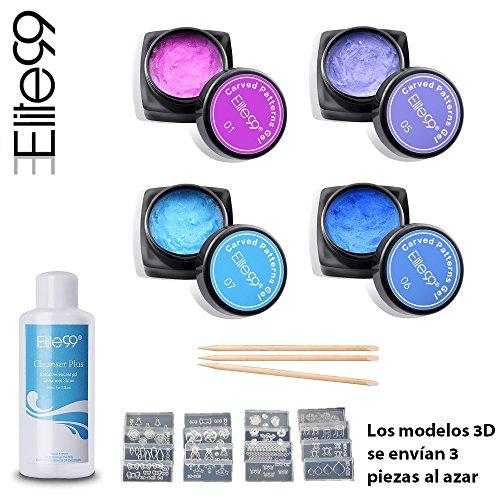 elite99-esmalte-de-unas-gel-tallado-3d-pegamento-uv-led-4pcs-kit-con-limpiador-y-modelos-3d-manicura