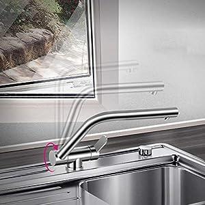 Acero inoxidable 304, sin plomo, sin ventanas, fregadero de cocina, lavavajillas, grifos plegables de frío y calor…