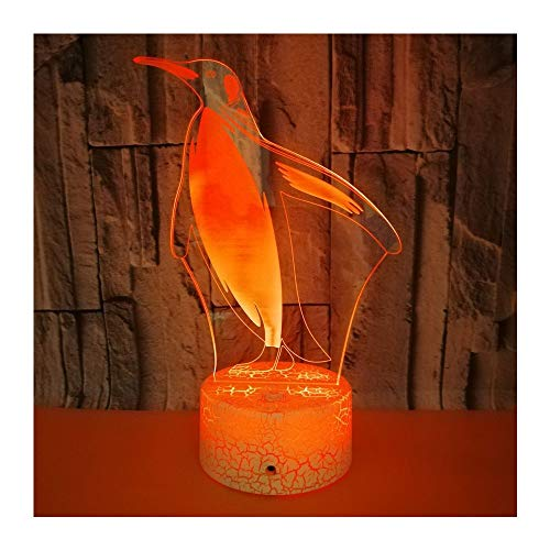 Luz Nocturna Lámpara Colorida Del Regalo De La Navidad Del Pingüino 3D Interruptor De Control Remoto