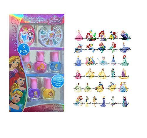 Disney Princess Royal Nail Art Collection Gift Set, 8 Pc with Set of Nail Art Decals by Disney