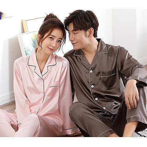 2-teilige Anzug Paar Sexy Pyjamas Lange Hülsen-Frauen Frühling Und Herbst-EIS-Silk Thin Schlafanzüge Herren Loungenachtwäsche Hosen (Color : Ladies C, Size : XL)