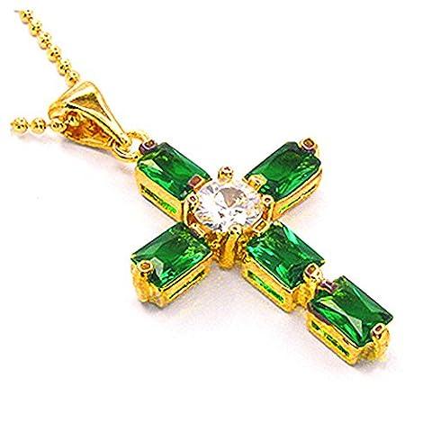 Rizilia Bijoux 18K plaqu¡§? or jaune Crucifix Croix Emerald Cut Vert Emeraude Couleur Gem Pierre Diapositive collier pendentif Avec (Longueur 48cm / 18inch) Cha?ne gourmette [Bijoux gratuit Pouch]