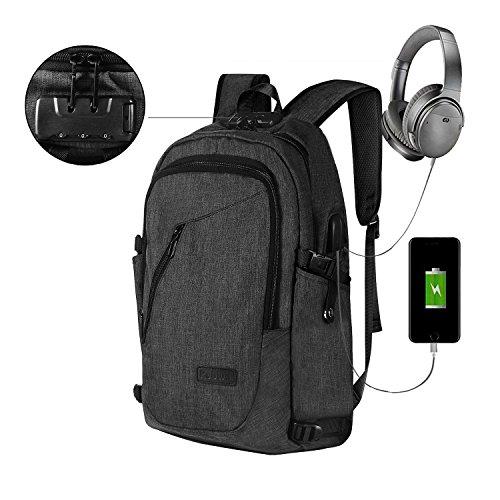 Sac à Dos D'affaires, Kobwa 15.6' Sac pour Ordinateur Portable pour Hommes et Femmes avec Anti-theft, USB Charging Port And Headphone Port(Noir)