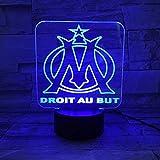 LEFA Veilleuse 3D Marseille, Console USB couleur 7 Dimmable Illusion Décoration de bureau Décoration intérieure cadeau de Noël for enfants (base Bluetooth) Lampe de table (Color : Touch)...