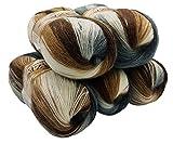 ALIZE 5 x 100 g Strickwolle Mehrfarbig mit Farbverlauf, 500 Gramm Strickgarn mit 20% Wolle-Anteil (grau braun beige weiß 5742)