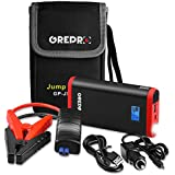 Car Jump Starter - 500A Power Pack and Auto Battery Booster for 12V Vehicle (Up to 4.5L Gas,2.2L Diesel Engines) and Emergency Robust Battery Jump Start Pack with USB Port and LED Flashlight - Red