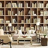 zyyaky Tapete Bücherregal Bibliothek Wohnzimmer Sofa Schlafzimmer Studie Hintergrund Dekorative Wandbild 3D Wallpaper Wand