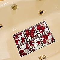 B & Y Elegante antiscivolo per vasca da bagno Tatuaggi Vasca appliques Adesivi Decalcomanie Rosso e Bianco petali di Rosa - Pro Gel Grip