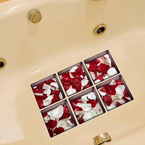 B & Y Elegante Antislip Badewanne Tattoos Badewanne Applikationen Sticker Badewanne Aufkleber rot und weiß rose Petal (Yoga-ausrüstung Bundle)
