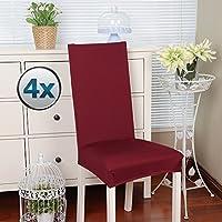 [Patrocinado]Fundas para sillas pack de 4 fundas sillas comedor fundas elásticas, cubiertas para sillas,bielástico Extraíble funda, muy fácil de limpiar, duradera (Paquete de 4, Rojo oscuro)
