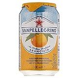 San Pellegrino Aranciata | Orangenlimonade | Hoher Fruchtanteil  | 20% frisch gepresste Orangen | Leicht herbe Geschmacksnote | Ohne künstliche Farbstoffe | Ideal für unterwegs | 1x0,33l EINWEG Dosen