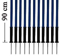 agility sport pour chiens - lot de 12 piquets de slalom, bleu - 90 cm x Ø 25 mm avec des ressorts flexibles en métal - contient également un sac pratique