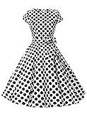 Dressystar Damen Vintage 50er Cap Sleeves Dot Einfarbig Rockabilly Swing Kleider Weiß Schwarz Dot B L