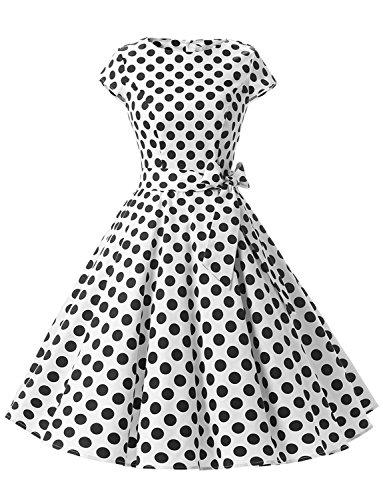 Dressystar Damen Vintage 51er Cap Sleeves Dot Einfarbig Rockabilly Swing Kleider Weiß Schwarz Dot B XL