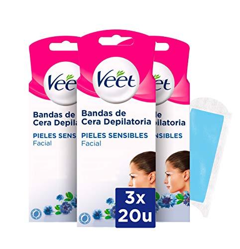 Veet Bandas de Cera Fria Depilatoria para Depilación Facial con Aceite de Almendras y Aroma de Aciano...