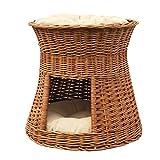 2-30-G Katzenhöhle / Katzenkorb aus Weide von GalaDis. Mit zwei Kissen. Ein Katzenturm für Ihre Katze zum Ruhen und Spielen.