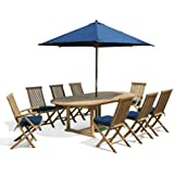Teak Dining Set with Oval Extending Table and 8 Folding Chairs (Without Cushions or Parasol) - Jati Brand, Quality & Value