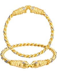 The Luxor Gold Plated Daily Wear Jhari Studded Designer Bangle Set For Women