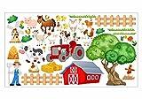 nikima - 020 Wandtattoo Kinderzimmer Bauernhof niedliche Tiere Traktor Farm Kuh - in 6 Größen - niedliche Kinderzimmer Sticker Babyzimmer Aufkleber süße Wanddeko Wandbild Junge Mädchen (Größe: 750x 420 mm)