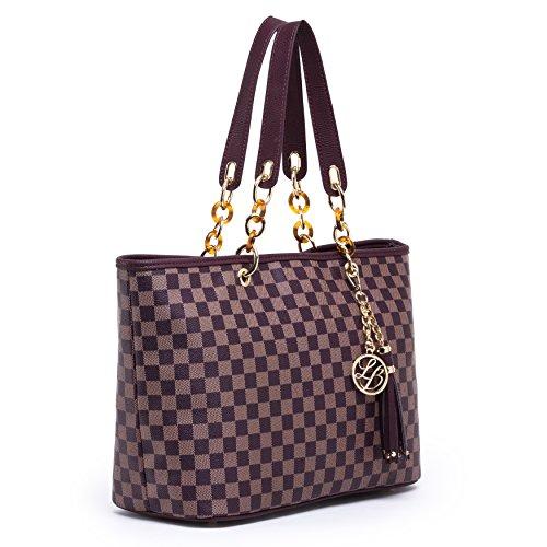 Lola Benson® Starr Frauen Monogramm Stern Check/Logo Handtasche Schultertasche Shopper Tote Bag (Brown Damier) (Handtaschen Gucci Logo)