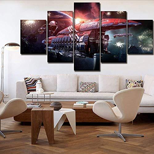 wand Poster Home Dekorative 5 Stücke SpielOnline Planet Spaceship Gemälde Wandkunst Modularer Bilderrahmen, 12X16 / 24/32 Zoll, Ohne Rahmen ()