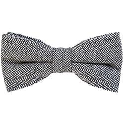 DonDon Pajarita de algodón para hombre 12 x 6 cm de tweed look ajustable y lista para usar - gris diseño de espiga